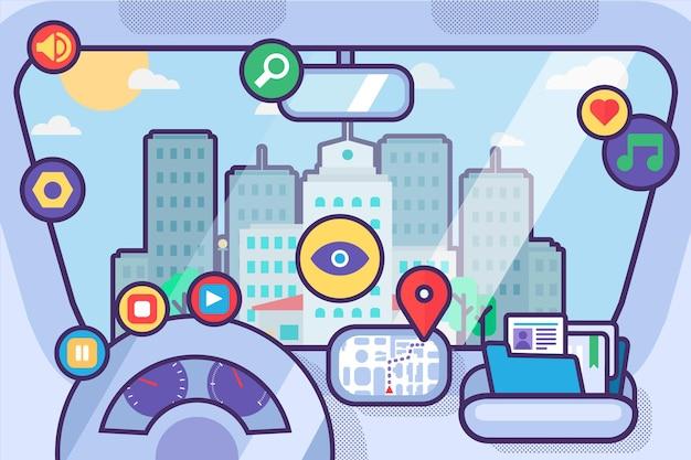 Wnętrze samochodu z systemem nawigacji i mapą gps. inteligentny salon samochodowy z deską rozdzielczą, kierownicą, znakami aplikacji pomocy i krajobrazem miasta w przedniej szybie. ilustracja wektorowa liniowa