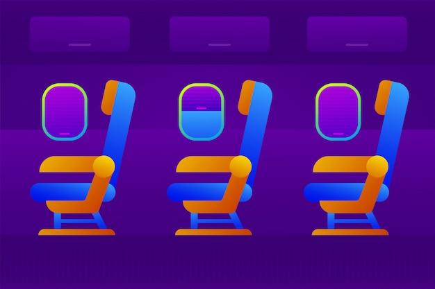 Wnętrze siedzenia samolotu z oknami. siedzenia do transportu samolotów.