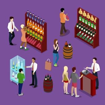 Wnętrze sklepu alkoholowego z butelkami wina, klientami i sprzedawcą