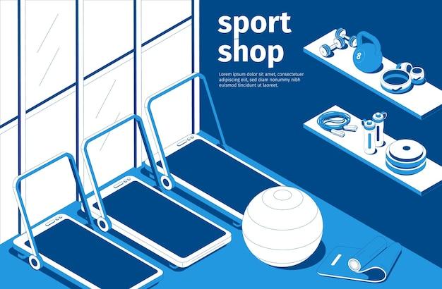 Wnętrze sklepu sportowego niebiesko-biała kompozycja izometryczna z bieżniami sztanga do piłki fitness odważniki sprzęt do ćwiczeń siłowych