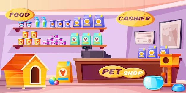 Wnętrze sklepu zoologicznego sklep ze zwierzętami domowymi z ladą akcesoria na biurko jedzenie domy dla kotów i psów zabawki puszki na półkach wewnętrzny widok supermarketu dla zwierząt domowych z nikim kreskówkową ilustracją