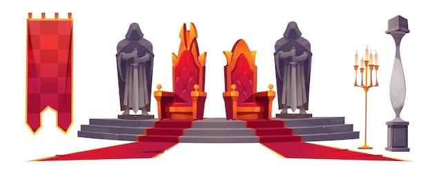 Wnętrze średniowiecznego zamku ze złotymi królewskimi tronami