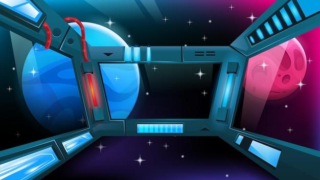 Wnętrze statku kosmicznego okno stacji kosmicznej z widokiem na obce planety i gwiazdy