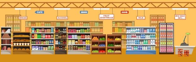 Wnętrze supermarketu z produktami. duży sklep