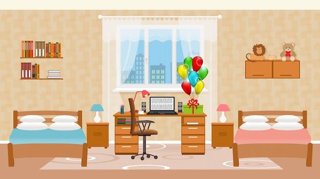 Wnętrze sypialni dziecka z dwoma łóżkami