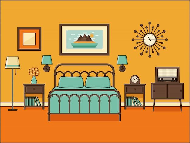 Wnętrze sypialni pokój hotelowy z łóżkiem. . domowa przestrzeń retro w mieszkaniu. wyposażenie domu z kreskówek. ilustracja liniowa. vintage mieszkanie. zarys tła s 190s.