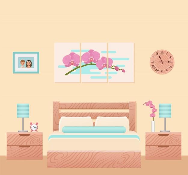 Wnętrze sypialni, pokój hotelowy z łóżkiem, przestrzeń domowa z meblami,