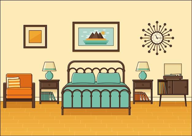Wnętrze sypialni retro. pokój hotelowy w mieszkaniu. ilustracja.