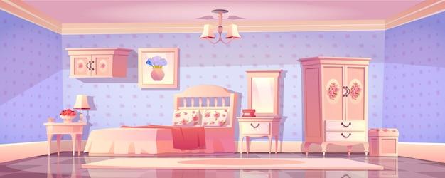 Wnętrze sypialni shabby chic, pusty pokój vintage