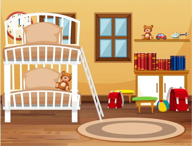 Wnętrze sypialni w akademiku