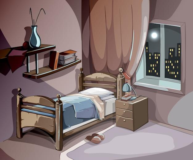 Wnętrze sypialni w nocy w stylu cartoon. tło koncepcja spania wektor. pokój ilustracyjny z łóżkiem, komfortem dla relaksu i snu