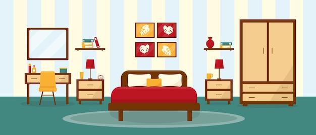 Wnętrze sypialni w płaskim ramiaku.