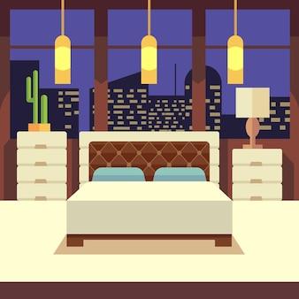 Wnętrze sypialni w stylu płaska konstrukcja.