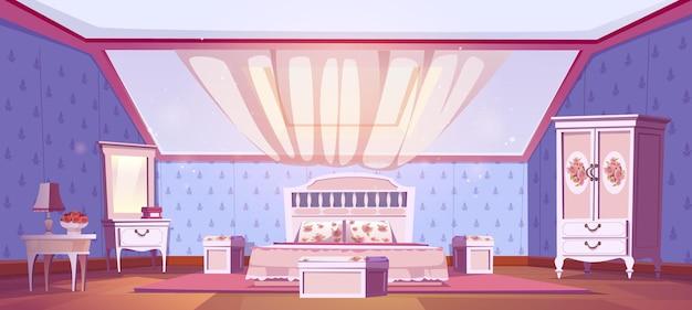 Wnętrze sypialni w stylu shabby chic na poddaszu