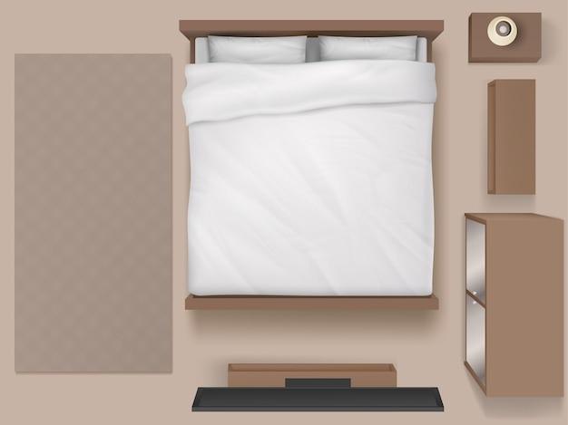 Wnętrze sypialni widok z góry nowoczesny dom lub hotel