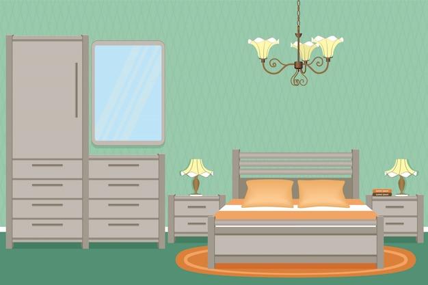 Wnętrze sypialni z łóżkiem, stolikami nocnymi, kinkietami i meblami do sypialni.