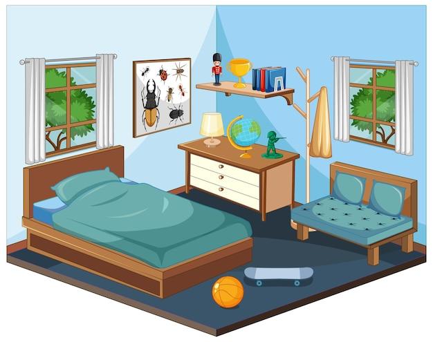 Wnętrze sypialni z meblami w kolorze niebieskim