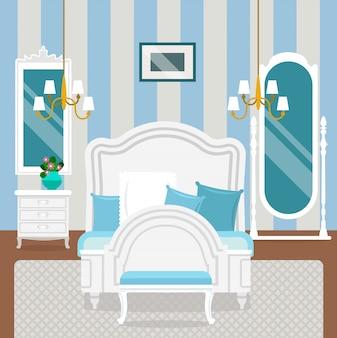 Wnętrze sypialni z meblami w stylu klasycznym.