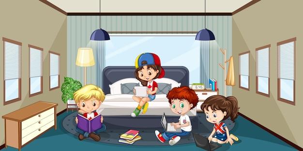 Wnętrze sypialni z postacią z kreskówek dla dzieci