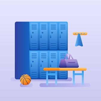 Wnętrze szafki na siłownię lub szatnię. garderoba klubu fitness.