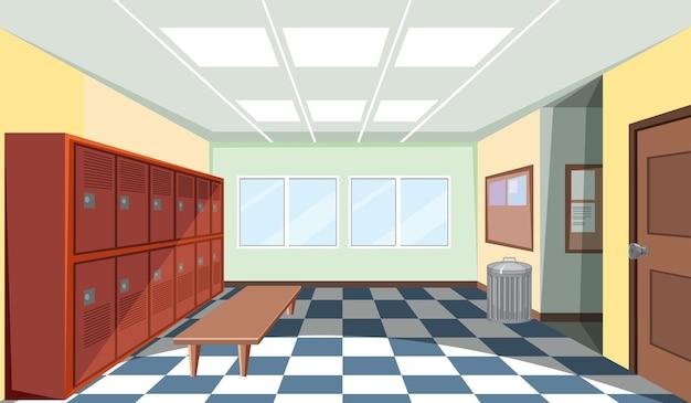 Wnętrze szatni szkolnej