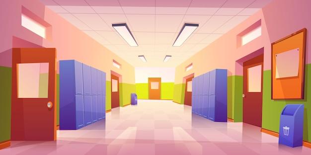 Wnętrze szkolnego korytarza z drzwiami i szafkami