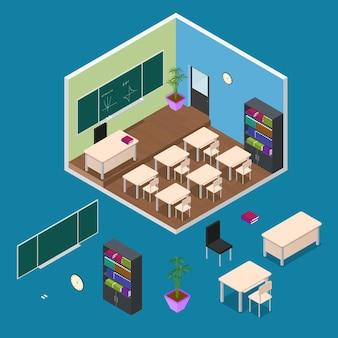 Wnętrze szkoły lub sali lekcyjnej z widokiem izometrycznym mebli elementarnych.