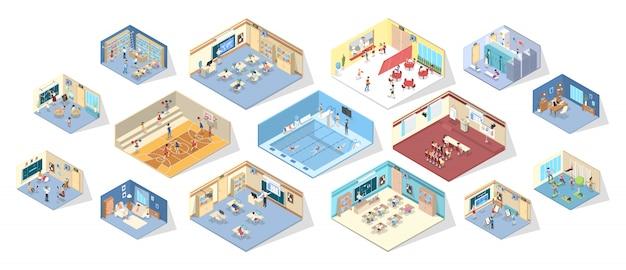 Wnętrze szkoły lub uczelni z biblioteką, siłownią, salą wykładową i jadalnią.