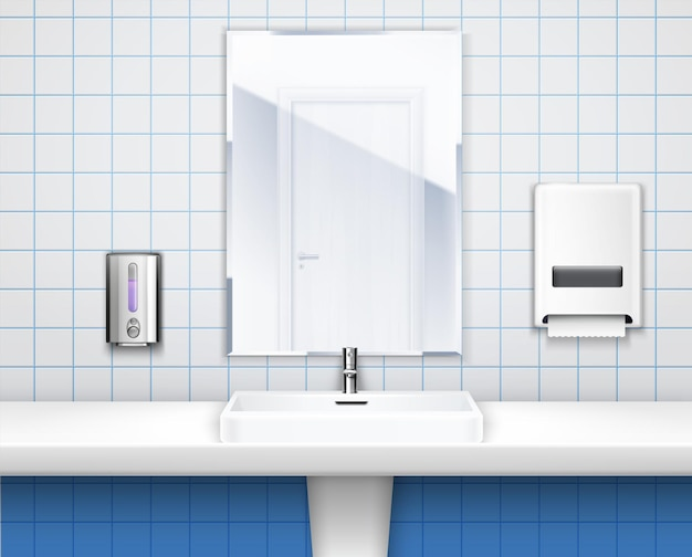 Wnętrze toalety publicznej z ilustracją umywalki, lustra i mydła