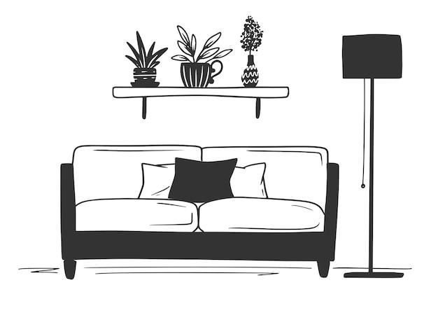 Wnętrze w stylu skandynawskim. część pokoju. ręcznie rysowane ilustracja stylu szkicu.
