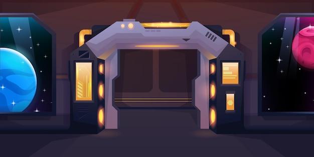 Wnętrze wahadłowca z przesuwanymi, otwartymi drzwiami statku kosmicznego