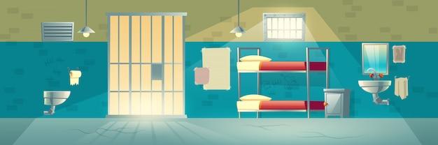 Wnętrze więzienia, pokój lochów dla więźniów