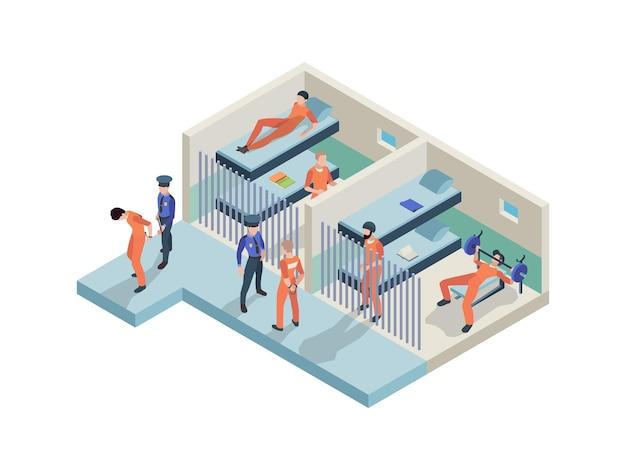 Wnętrze więzienia. więźniowie siedzący w kamerach chodzących strażników policyjnych w pomieszczeniach więziennych osób osadzonych wektor izometryczny. ilustracja wnętrza więzienia z policjantem i przestępcą więźnia