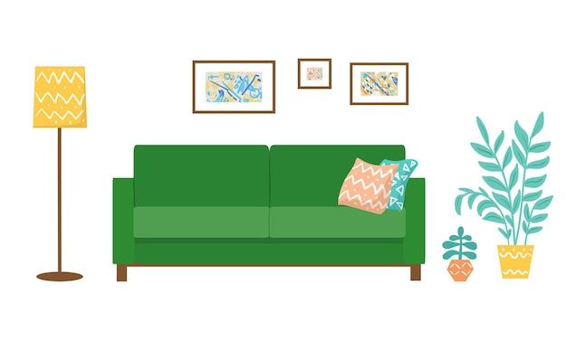 Wnętrze z zieloną kanapą wektor ilustracja płaska salon apartamenty nowoczesne wnętrze