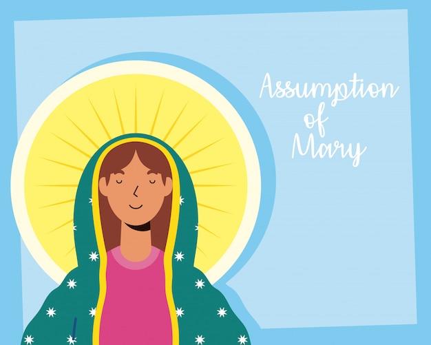 Wniebowzięcie pięknej marii dziewicy z napisem