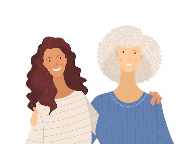 Wnuczka i babcia płaska ilustracja