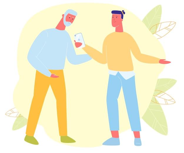 Wnuk młodego hipstera komunikuje się z dziadkiem