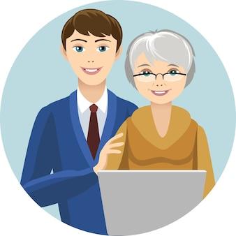 Wnuk uczy babcię pracy na laptopie. okrągła rama.