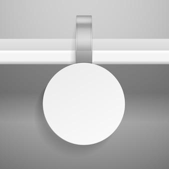 Wobbler na półce. okrągła reklama detaliczna wyceniona wisząca przezroczysta plastikowa naklejka do sklepu lub supermarketu na białym tle szablon wektora
