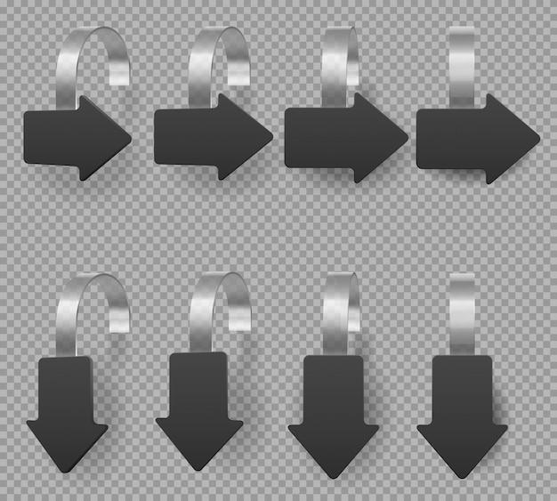 Woblery w kształcie czarnej strzałki, metki z ceną