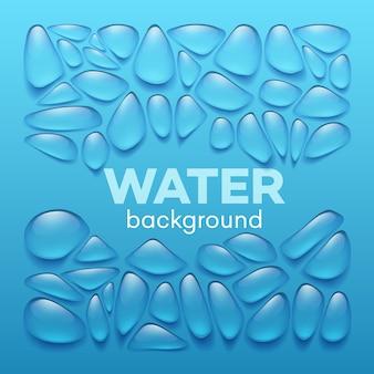 Wod krople na błękitnym tle.