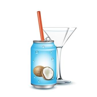 Woda gazowana o smaku kokosa i szkła wektor. pyszny słodki napój puste metalowe opakowanie ze słomy. orzeźwiający pojemnik na sok z napojami z szablonem kropli kondensacji realistyczna ilustracja 3d