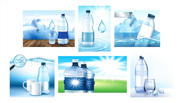 Woda mineralna creative promo plakaty wektor zestaw. puste butelki, szkło i kubek, kolekcja morze i góry banery reklamowe marketingowe. styl koncepcji kolorów szablon ilustracje