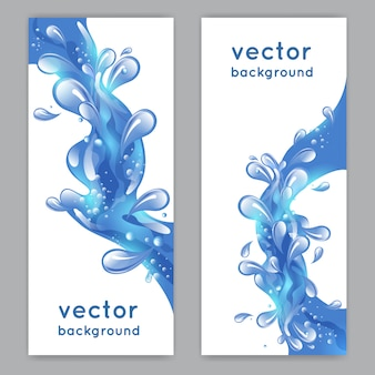 Woda morska niebieski powitalny transparent pionowy zestaw ilustracji wektorowych na białym tle