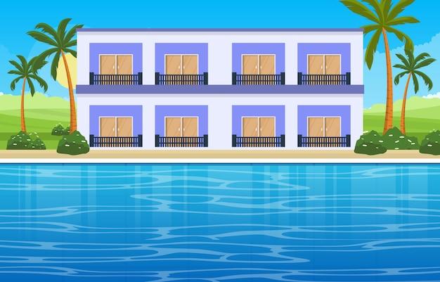 Woda odkryty basen hotel natura relaks zobacz widok