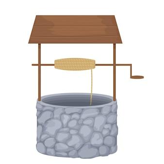 Woda ze studni z kamieniami i drewnianą deską w stylu kreskówki na białym tle