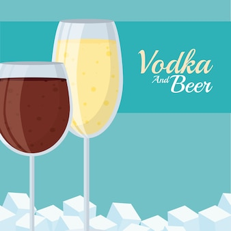 Wódka i kieliszki do wina z kostkami lodu