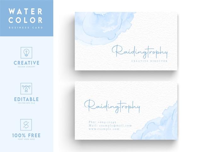 Wodnego koloru wizytówki szablon - błękitny wodnego wodnego koloru wizytówki projekta pojęcie