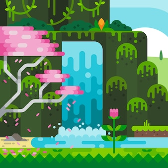 Wodospad cartoon w lesie
