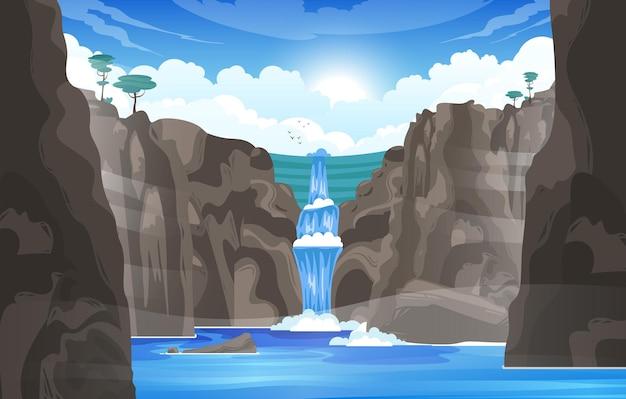 Wodospad kreskówka tło ze strumieniem rzeki płynącym rzucać skałami do górskiego jeziora płaskiej ilustracji